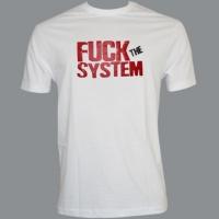 Tričko FUCK THE SYSTEM bílé