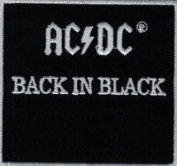 Nášivka AC/DC back in black vyšívaná zažehlovací