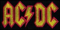 Nášivka AC/DC red yellow vyšívaná zažehlovací